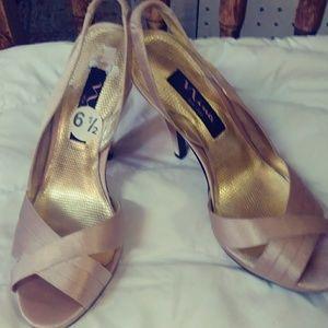 Nina satin metallic nude sling back heels